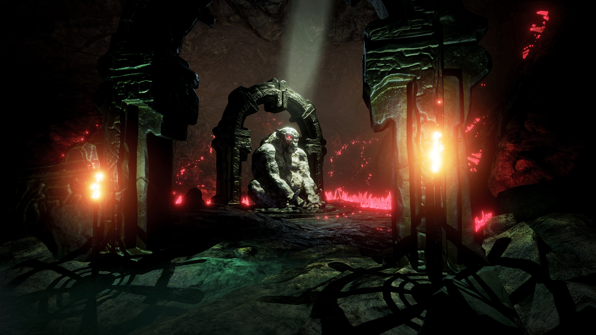 Conan Exiles gameplay footage of a stone statue in underground cave