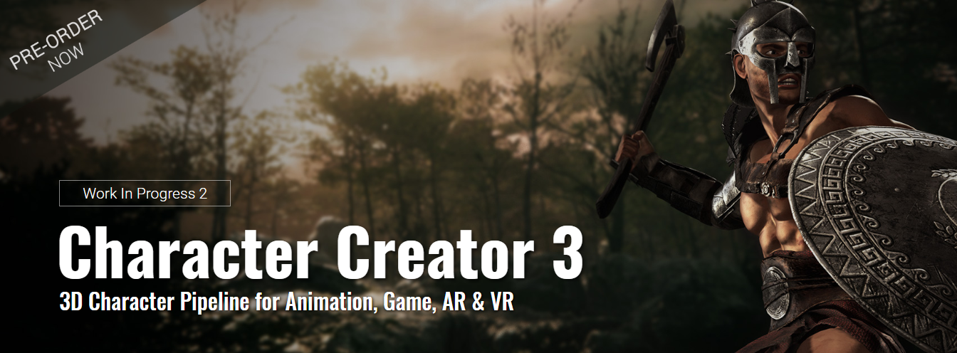 Character Creator 3 header image from their work in progress 2 announcement