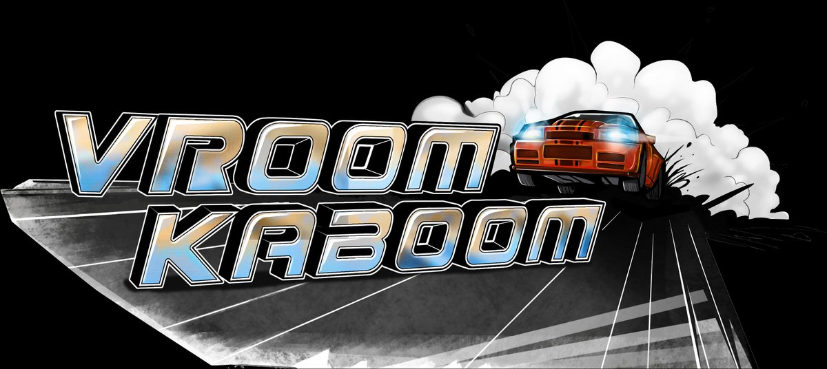 Vroom Kaboom logo on a black background