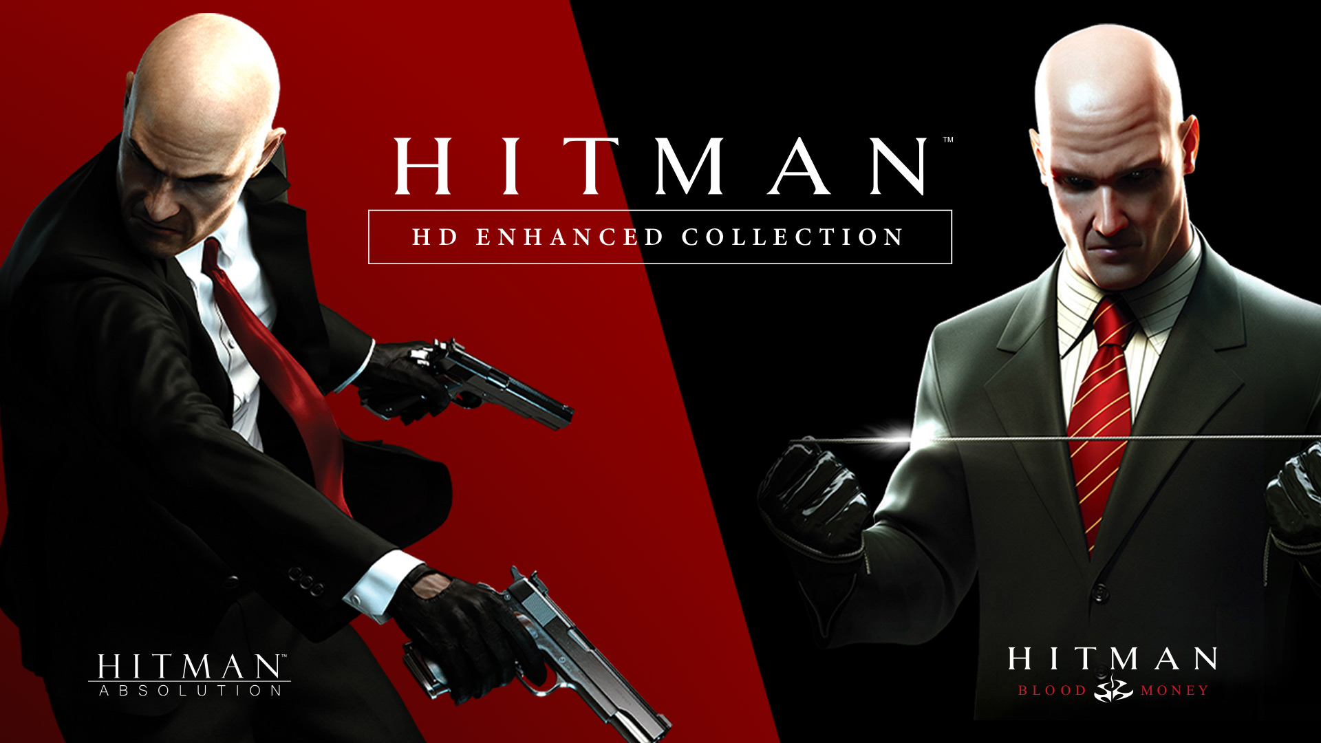 Hitman HD Enhanced Collection logo, showing cover art for both Hitman Blood Money on the left and Hitman Absolution on the right.