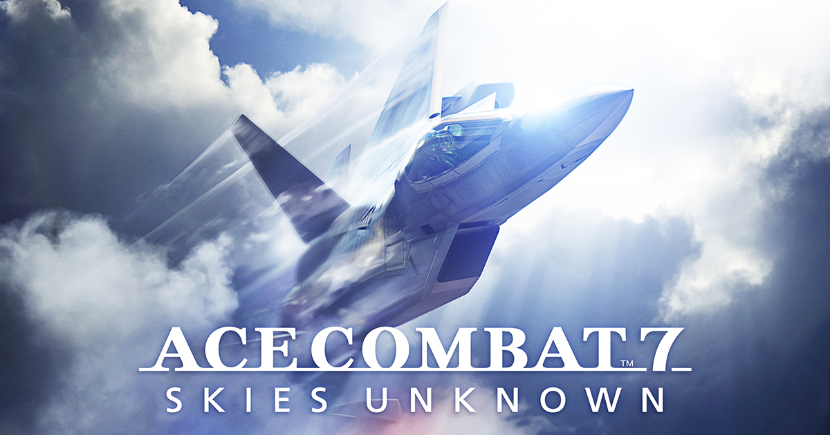 Ace Combat 7 Skies Unknown logo with plane in the background flying through the sky