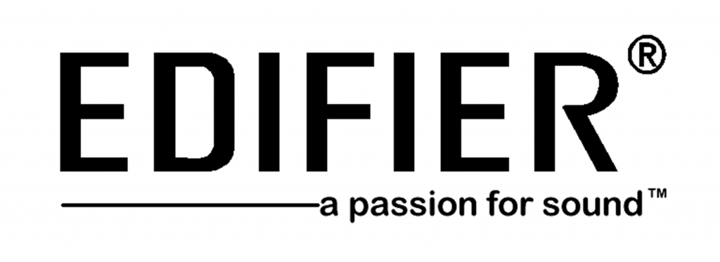 Edifier logo in black on white background with the slogan a passion for sound underneath