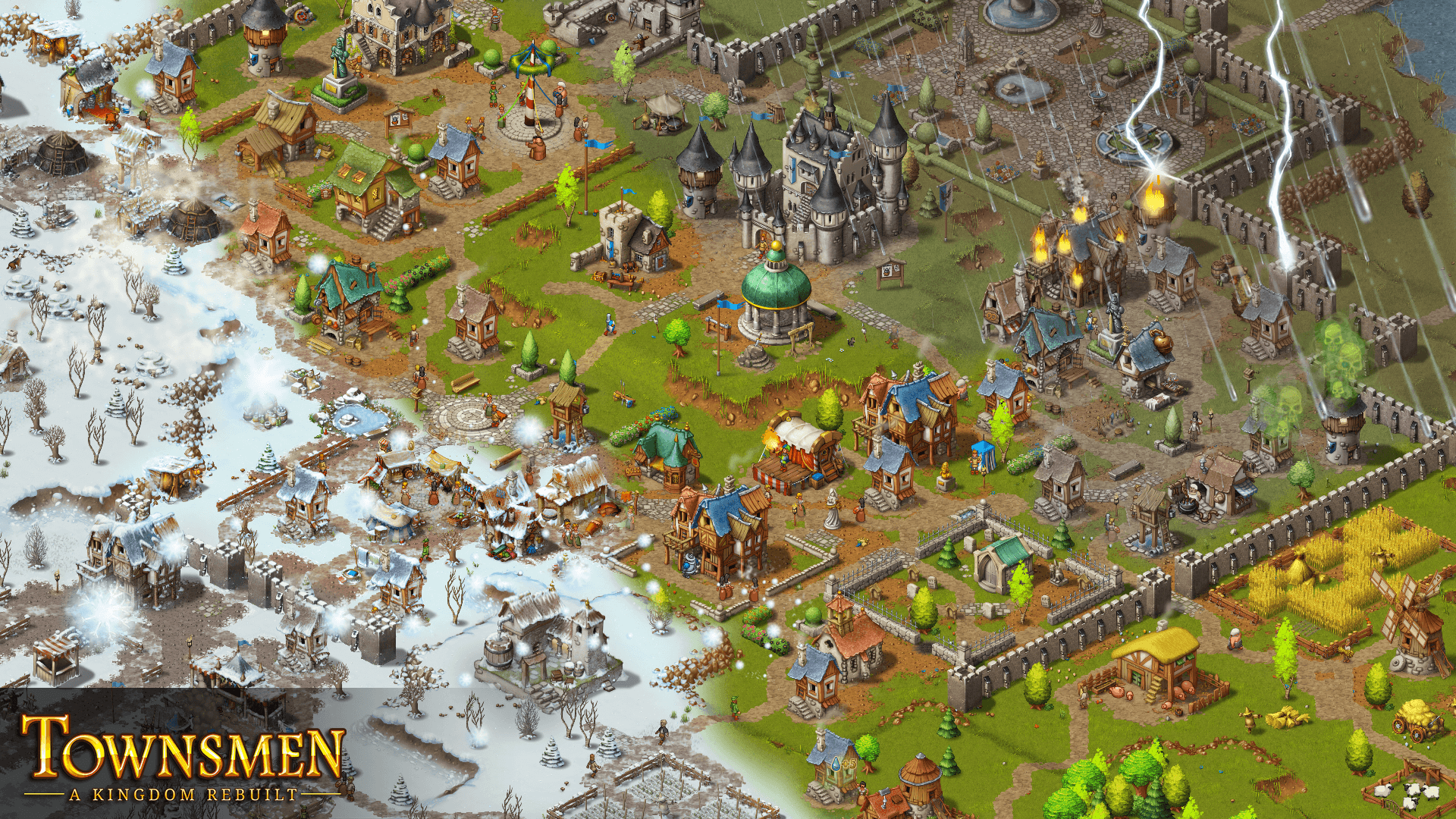 Townsmen A Kingdom Rebuilt gameplay with logo