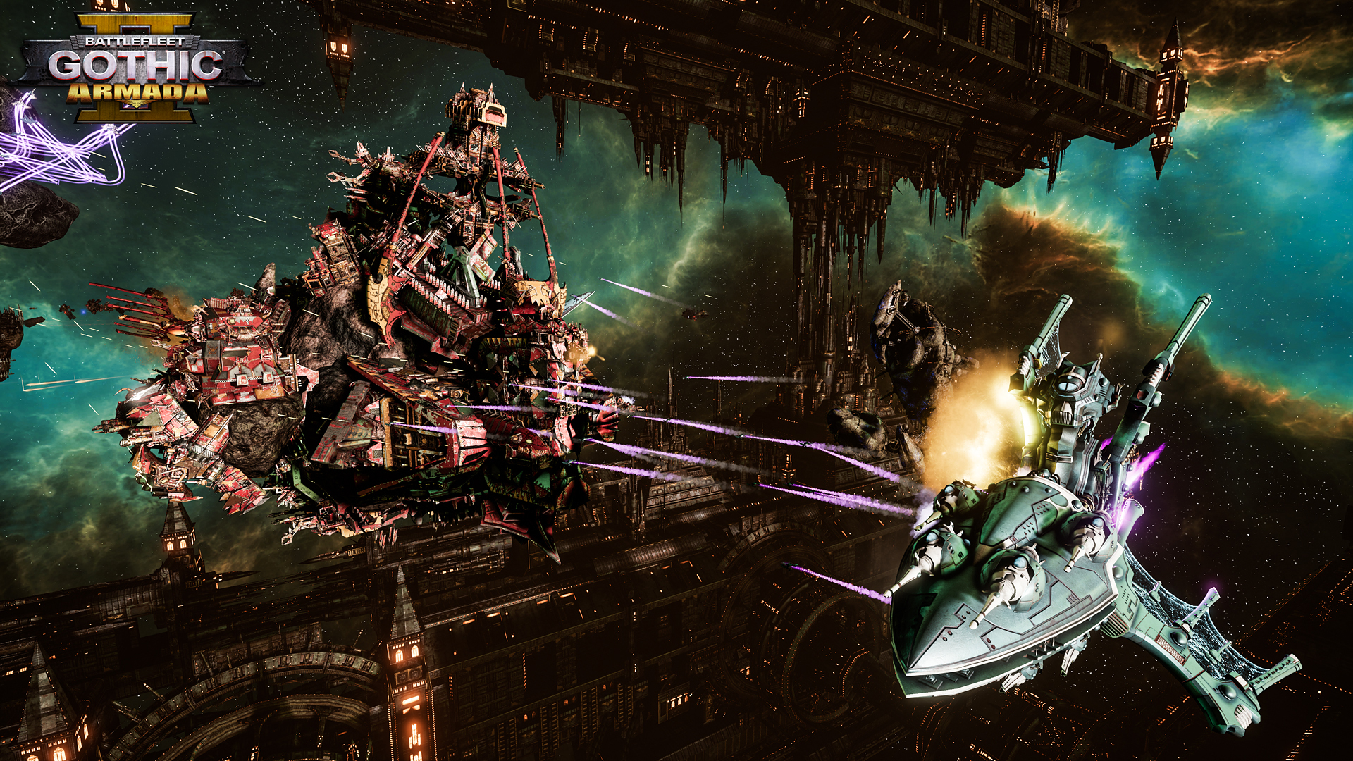 Battlefleet Gothic Armada II gameplay of ships in space