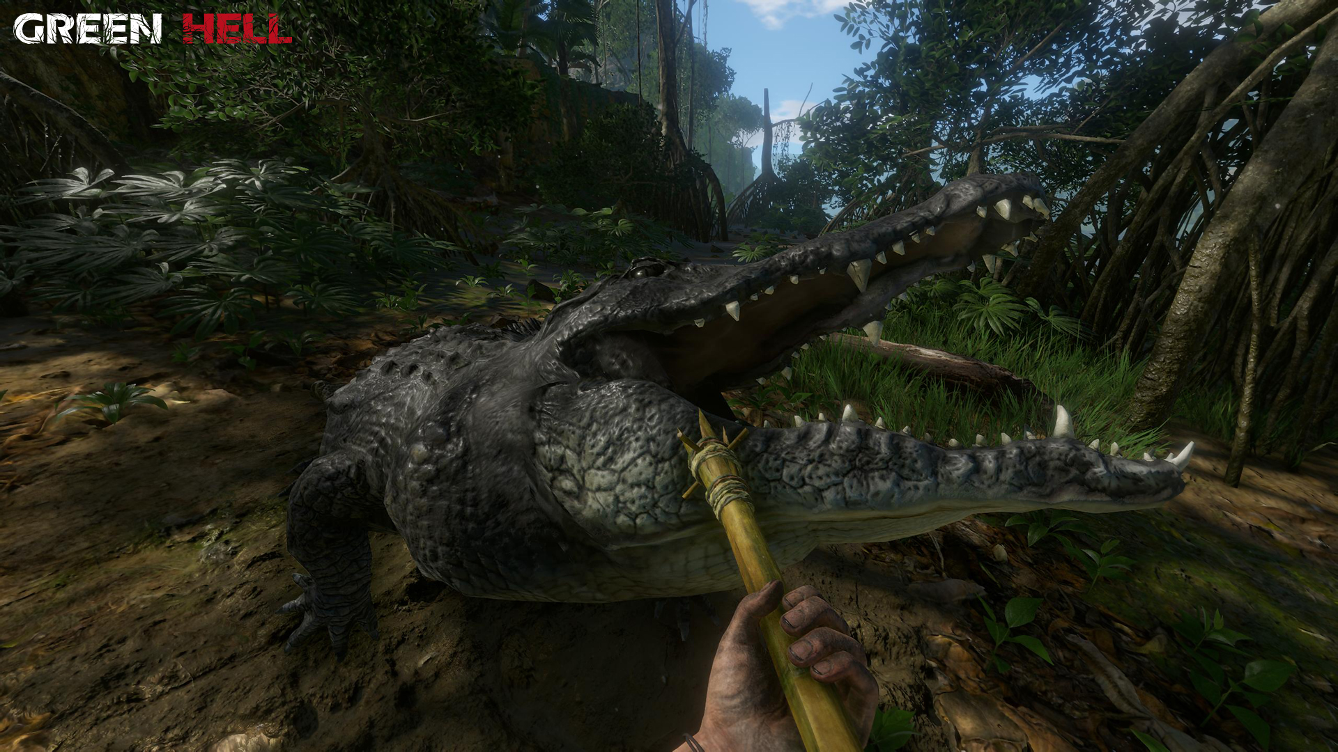 Green Hell gameplay showing player fighting off an alligator