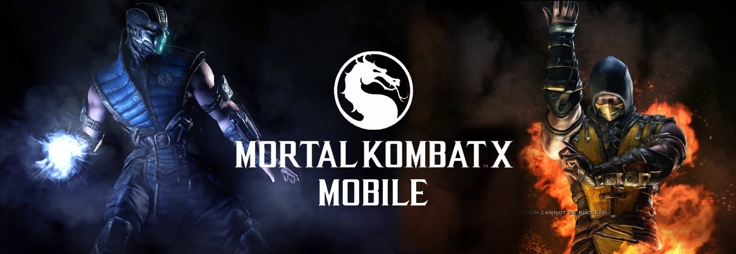 Mortal Combat Mobile logo with Subzero to the left and Scorpion to the right