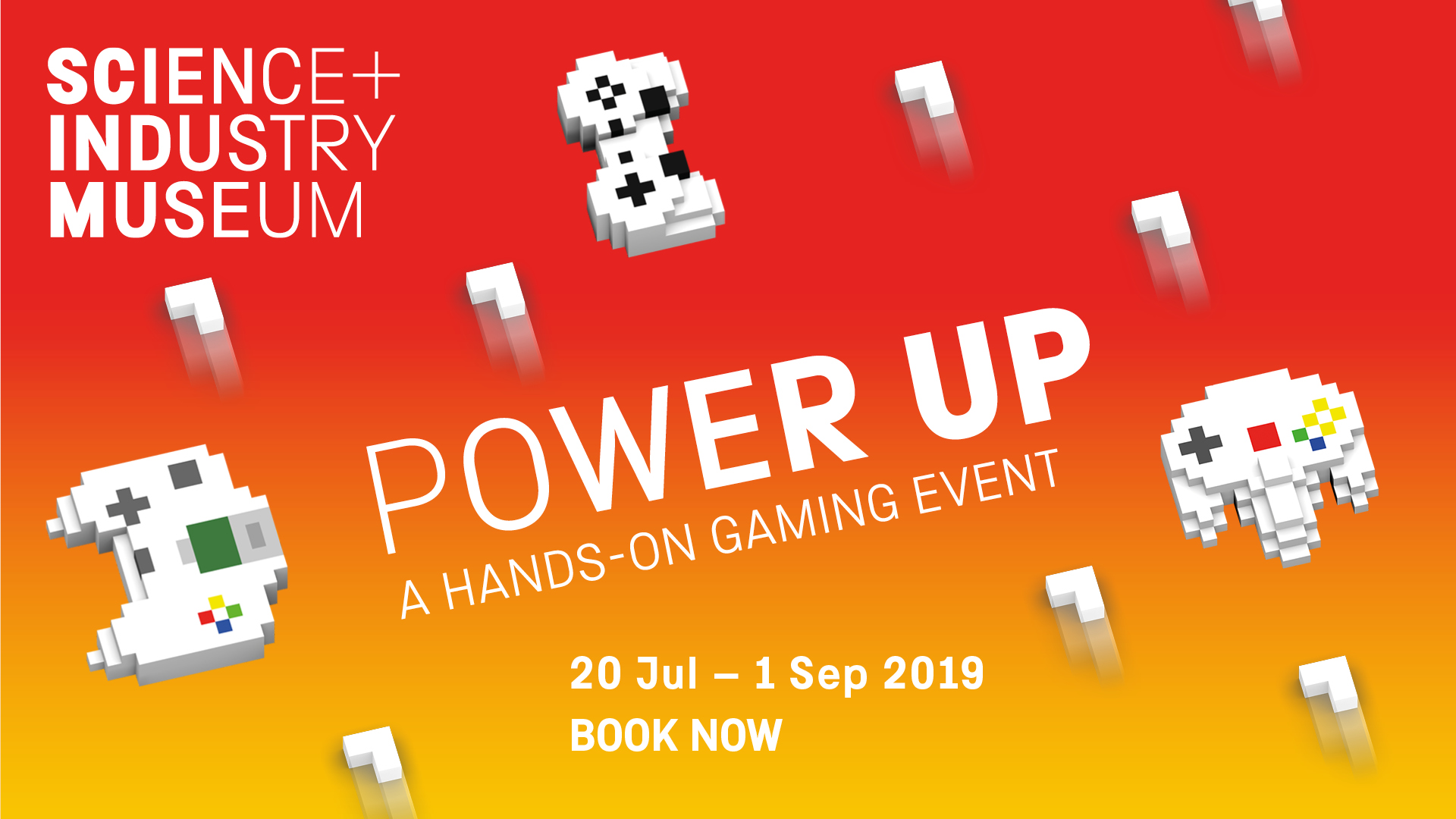 Advertisement banner for the Power Up retro gaming festival