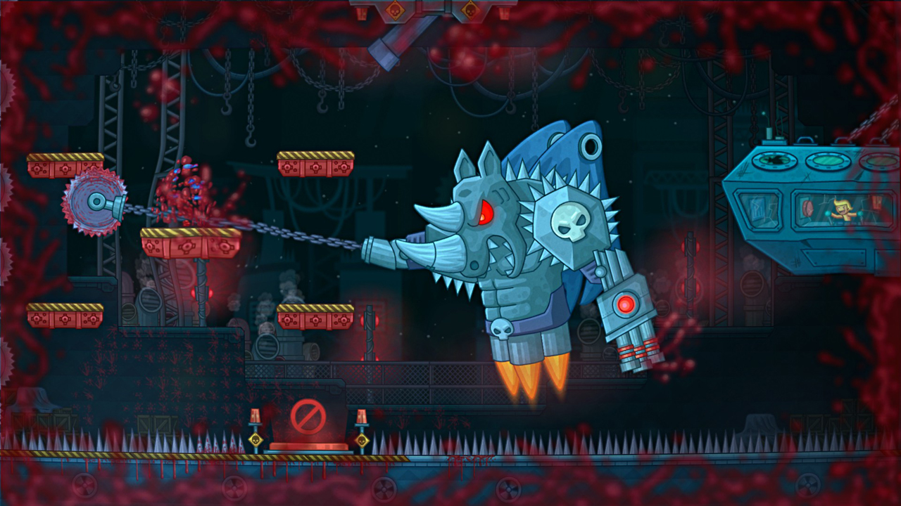 Never Give Up screenshot showing giant rhino robot boss