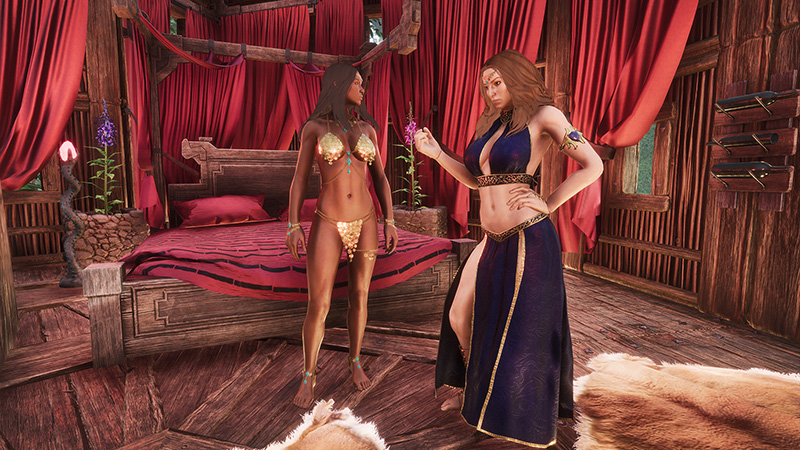 Debaucheries of Derketo DLC Screenshot showing two women in not very much clothing