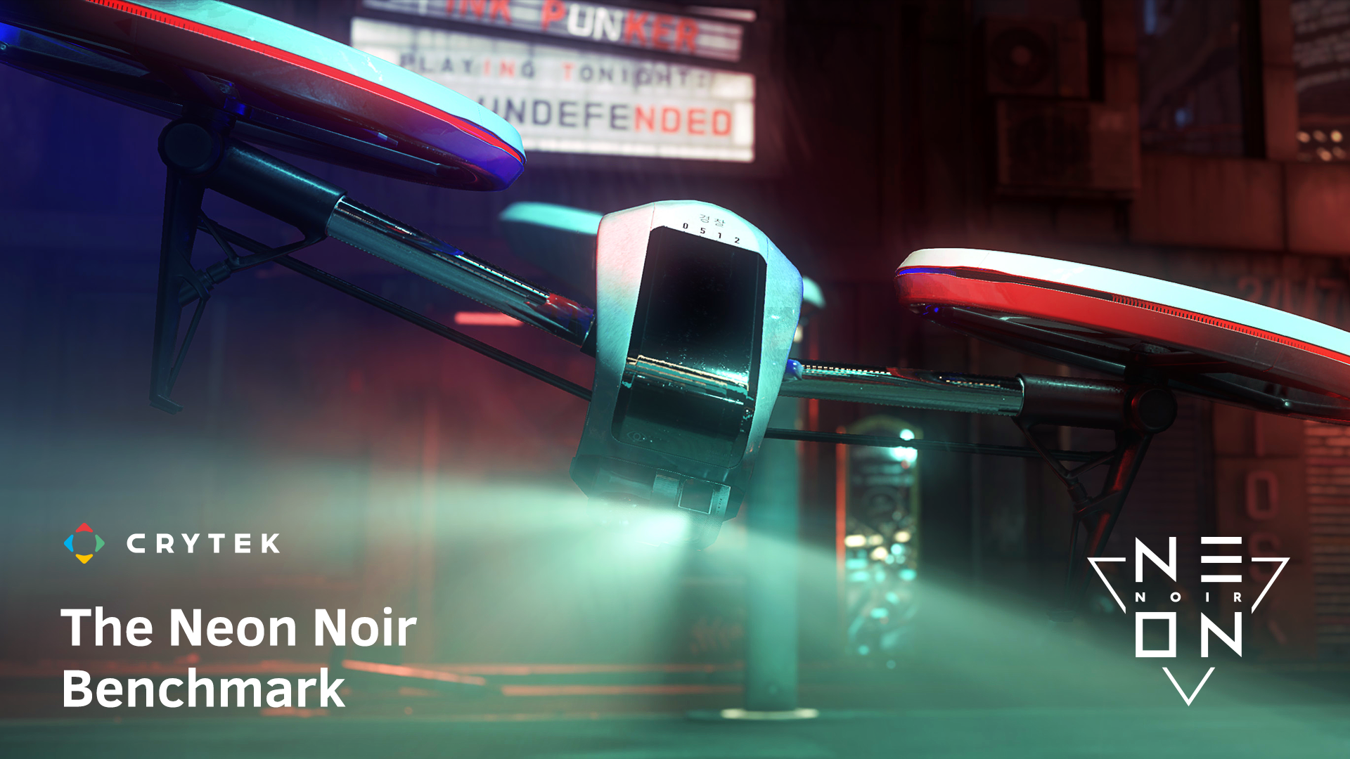 The Neon Noir Benchmark cover art showing drone