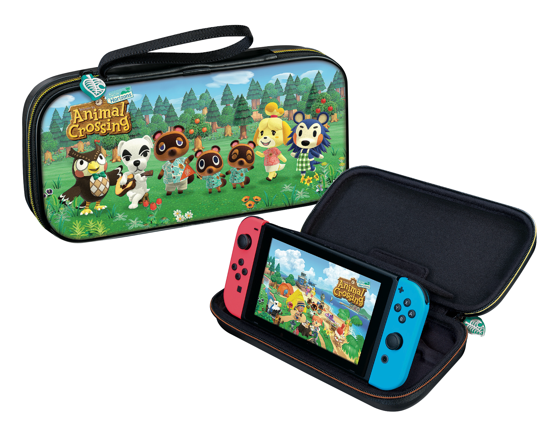Animal Crossing: New Horizons NACON Carry Case closed and open with Switch standing up