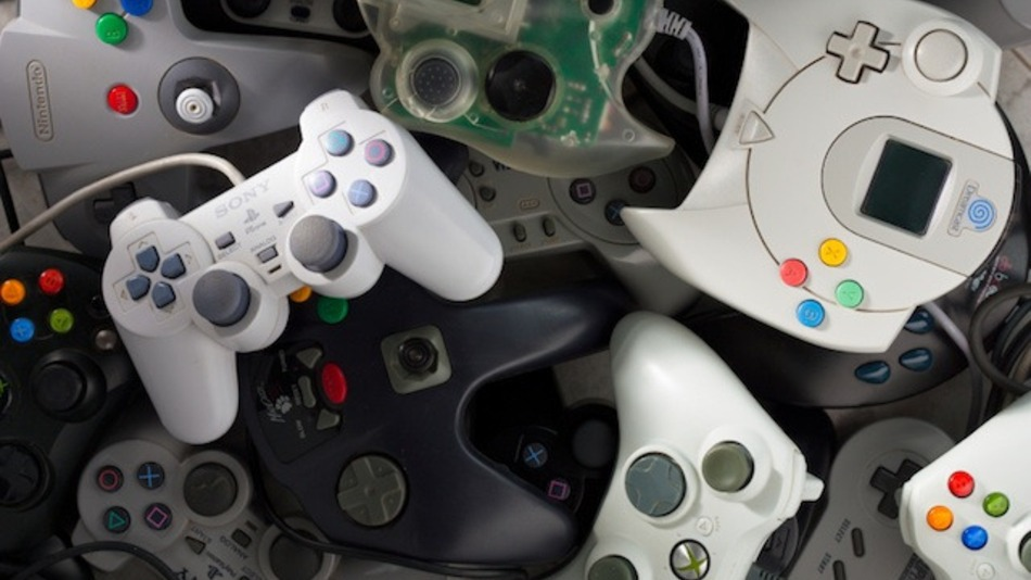 A collection of different controllers from a variety of games consoles