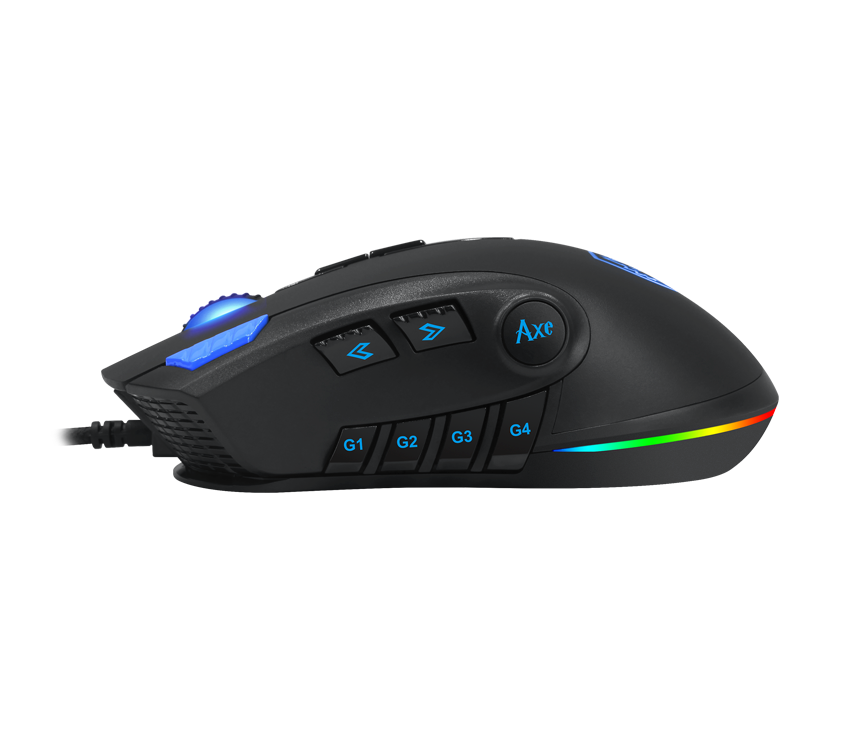 Side view of SADES gaming mouse