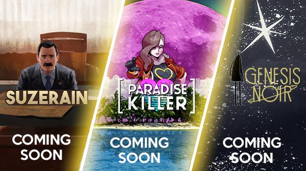Fellow Traveller New Content - Suzerain, Paradise Killer and Genesis Noir logos