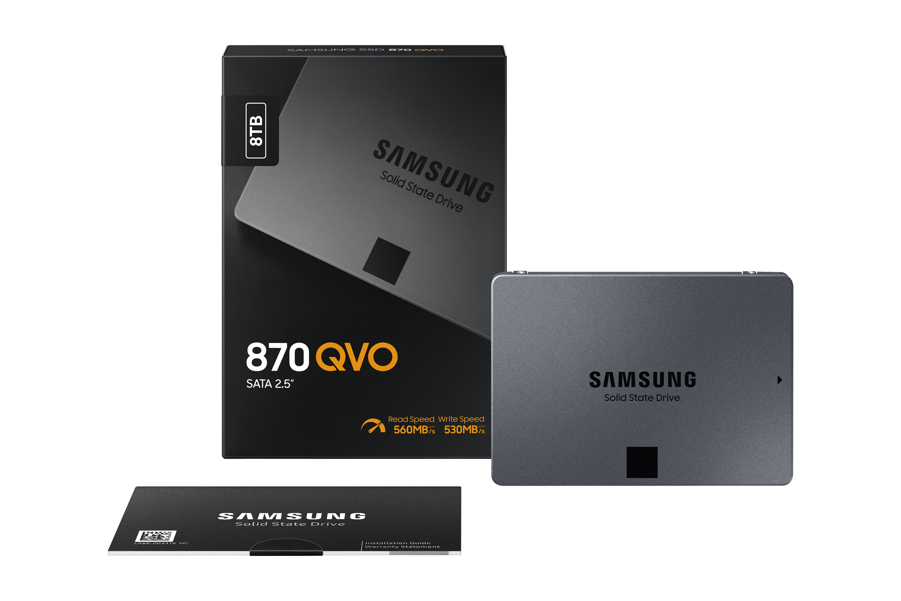 Samsung 870 QVO SSD next to box