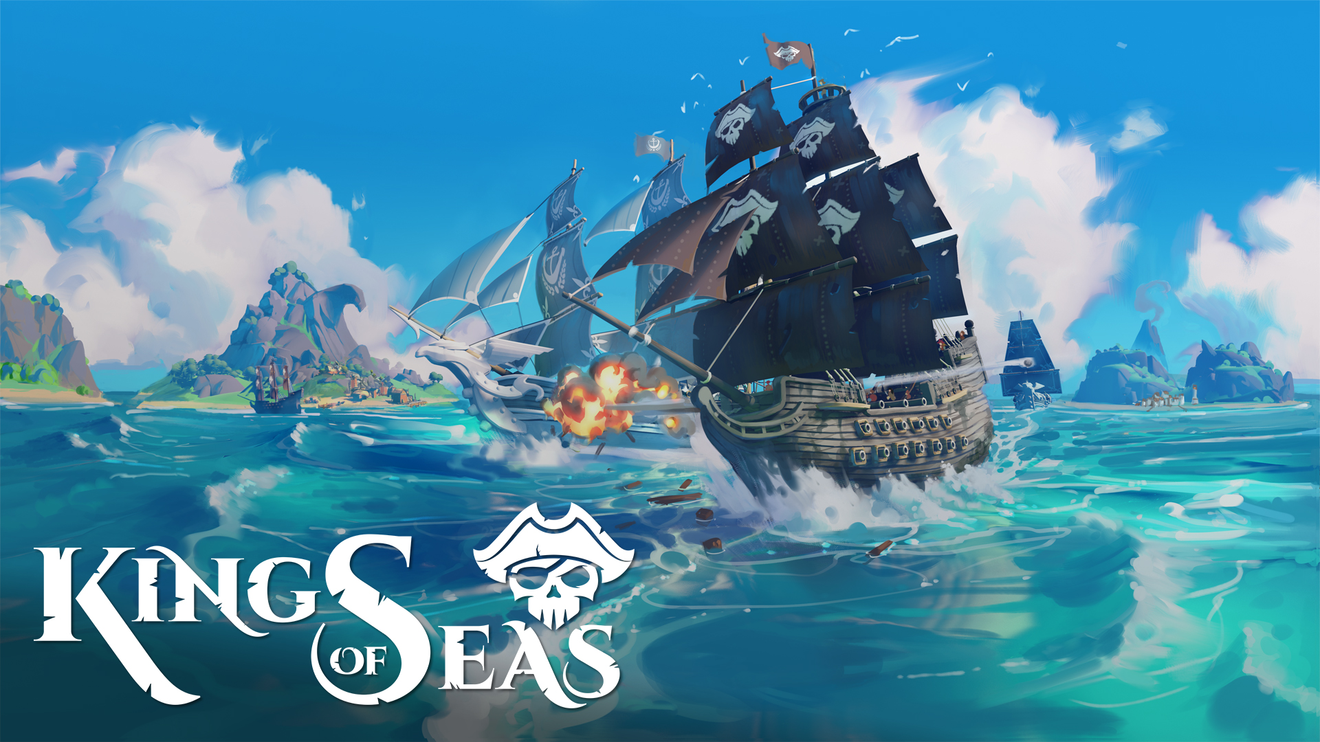 King of Seas logo and artwork showing a ship on the sea