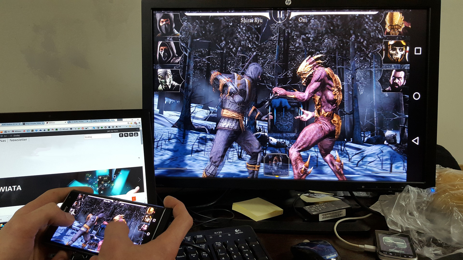 Fighting Game streamed to monitor whilst being played on mobile