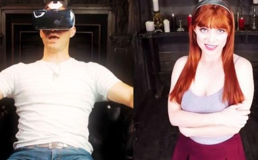 Virtual Reality Porn Games showing man wearing a headset and woman he is seeing
